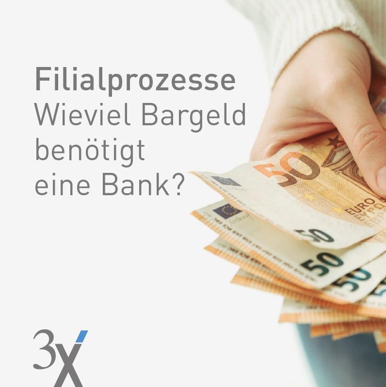 Hand mit 50 EURO Geldscheine und 3X Logo